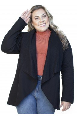 S4512902003 Cardigan de Moletom Feminino Plus Size Preto (Frente2)