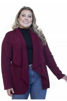 S4512902015 Cardigan de Moletom Feminino Plus Size Bordô (Frente2)