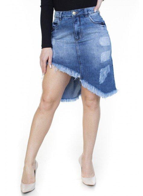 713011 Saia Jeans Assimétrica com Puídos (Frente2)