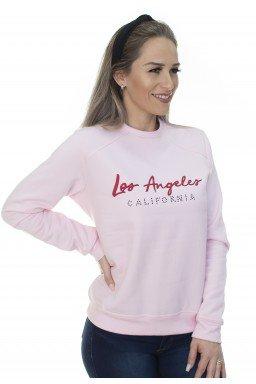 44512908010 Casaco de Moletom Los Angeles Rosa (Frente)