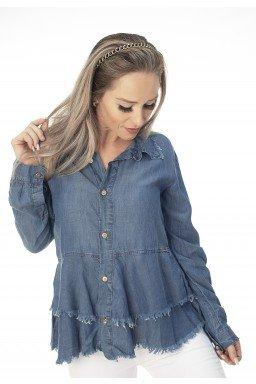 912806 Blusa Jeans Manga Longa com Babados (Frente1)