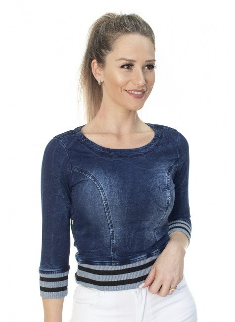 912609 Cropped Jeans com Punho (Frente1)