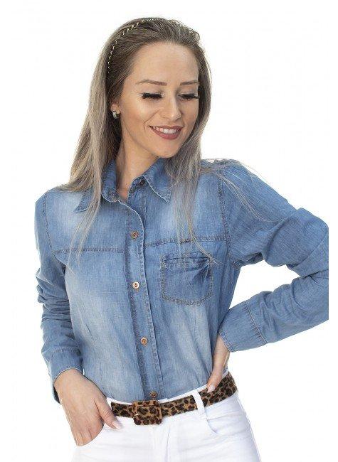 913019 Camisa Jeans Feminina Manga Longa (Frente1)