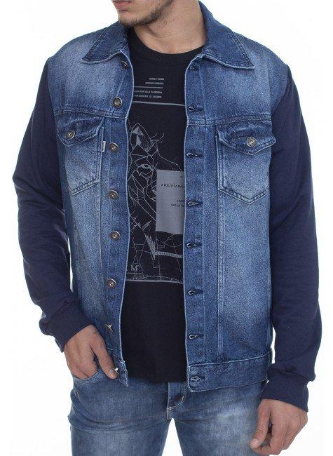 922601 Jaqueta Jeans Masculina Manga Moletom (Frente)