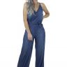 711917 Macacão Jeans Pantalona Feminino (Frente2)