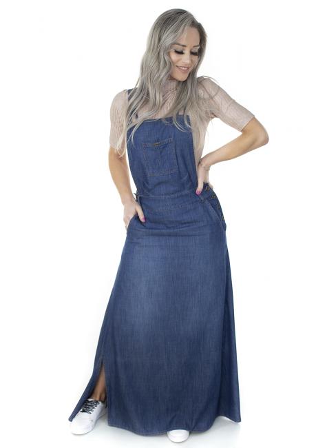 713017 Jardineira Saia Longa Jeans (Frente)