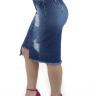 713020 Saia Jeans Midi com Recorte Frontal (Lateral)