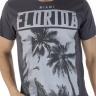 921903081 T-shirt Masculina Estampa Florida Cinza (Frente)