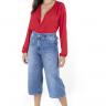 312102 Pantacourt Jeans com Ajuste na Cintura (Frente 3)