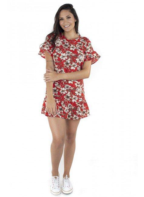 44911901005 Vestido Estampado Floral Vermelho (Frente)