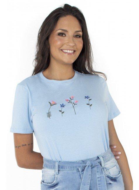 44212104004 T-shirt Feminina Flowers Minimalista Azul (Frente 3)