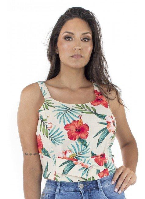 44111943014 Blusa Cropped Estampado Floral (Frente)