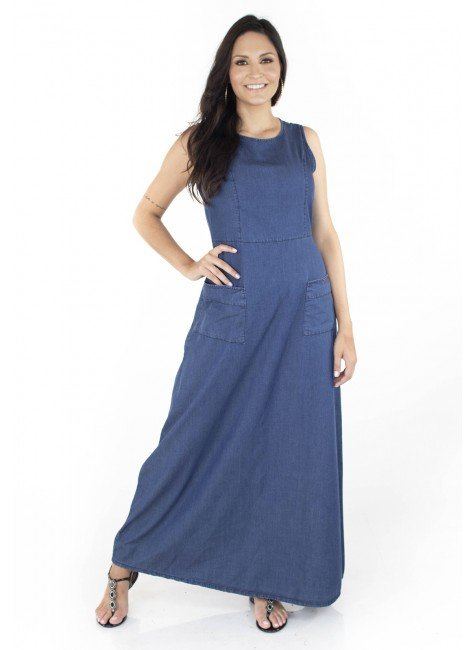 712105 Vestido Jeans Longo com Bolso Allana (Frente 2)