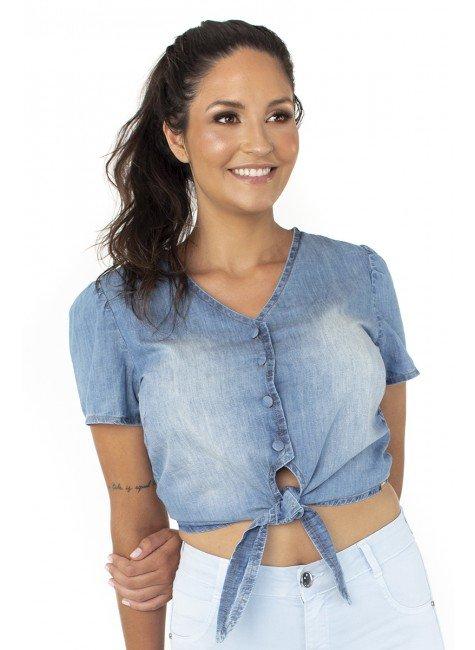 812104 Blusa Cropped Jeans Feminino (Frente)