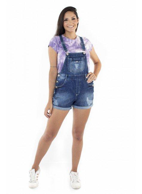 712123 Jardineira Shorts com Puídos Ayme (Frente)