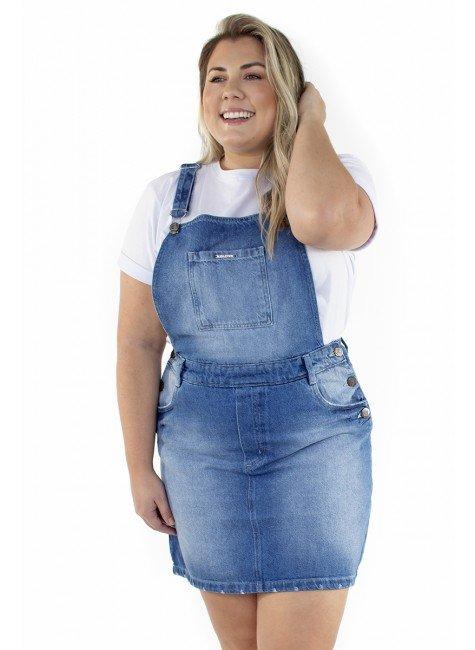 7121AR01 Jardineira Saia Jeans (Frente 1)