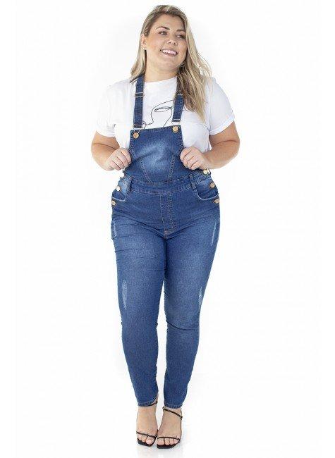 7121AR05 Jardineira Jeans Feminina Plus Size (Frente)