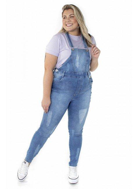 7121AR06 Jardineira Jeans Feminina Plus Size (Frente 2)
