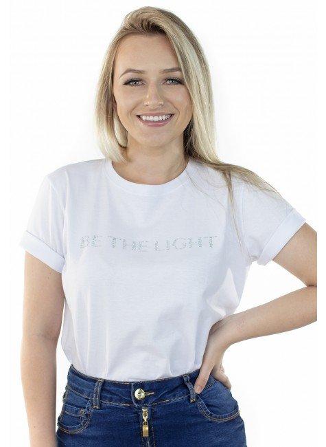 """44212105002 T-shirt """"Be the Light"""" Branca (Frente 1)"""